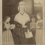 "Portrait of Nano Nagle. The inscription on the back of the photo reads: ""From a painting by the Presentation Nuns. Powell Street, San Francisco, September, 1891."" Pupils of the Sisters' school stood in for the portrait."