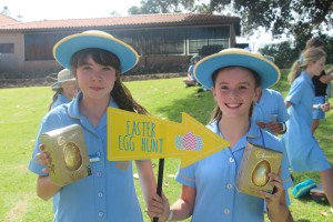Iona students with fair-trade Easter eggs